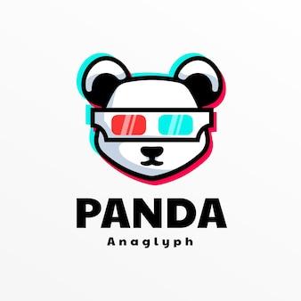 Estilo simples da mascote do logotipo da panda.