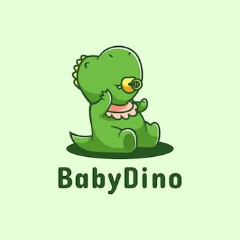 Estilo simples da mascote do logotipo do bebê dino.