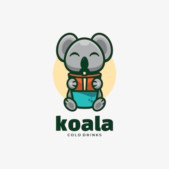 Estilo simples da mascote do logotipo koala.