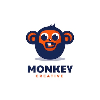 Estilo simples da mascote do macaco da ilustração do logotipo do vetor