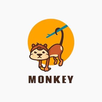 Estilo simples da mascote do macaco da ilustração do logotipo.