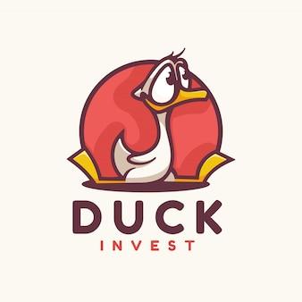 Estilo simples da mascote do pato do logotipo.