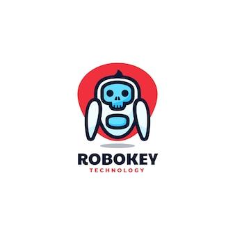 Estilo simples da mascote do robô da ilustração do logotipo