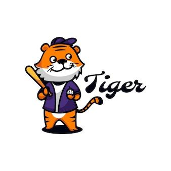 Estilo simples da mascote do tigre do logotipo.