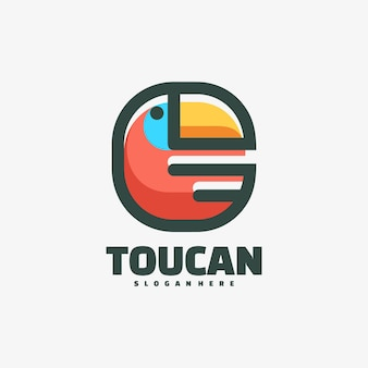 Estilo simples da mascote do tucano do logotipo.