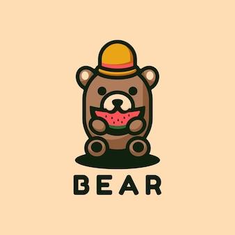 Estilo simples da mascote do urso do logotipo.