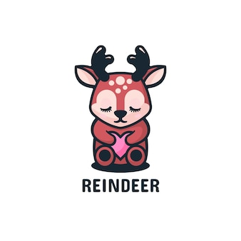 Estilo simples da mascote dos cervos do logotipo.