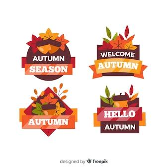 Estilo simples de coleção de rótulo de outono