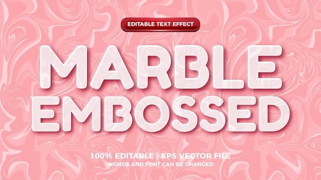 Estilo simples de efeito de texto editável em relevo em mármore rosa branco simples