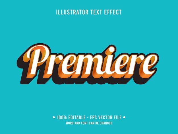 Estilo simples de efeito de texto editável premiere com cor laranja