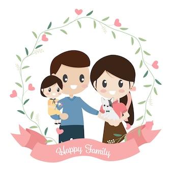 Estilo simples de família feliz dos desenhos animados em grinalda de coração