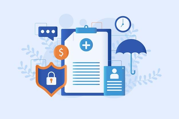 Estilo simples de ilustração de seguro