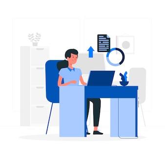 Estilo simples de menina de escritório azul
