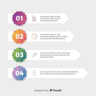 Estilo simples de modelo de etapas infográfico