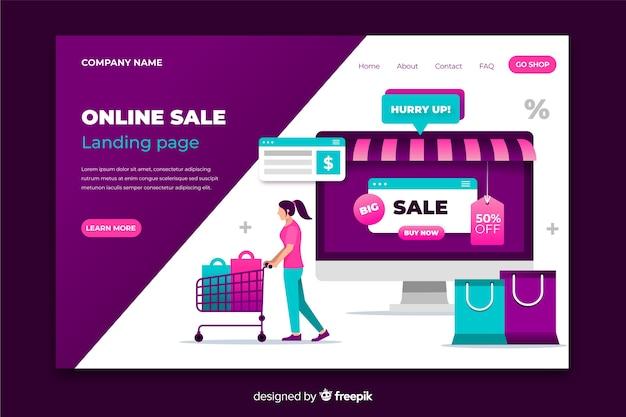 Estilo simples de página de destino de vendas