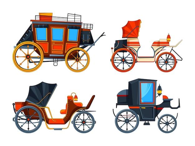 Estilo simples de transporte. conjunto de ilustrações de várias carruagens.