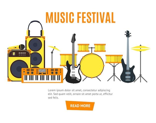 Estilo simples do banner de instrumentos musicais e ferramentas musicais.