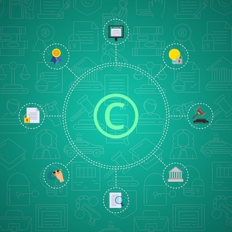 Estilo simples infográfico de elementos de direitos autorais em fundo gradiente com ícones lineares de direitos autorais.