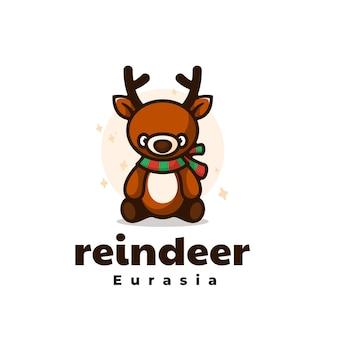 Estilo simples mascote da rena da ilustração do logotipo