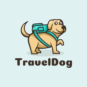 Estilo simples mascote do logotipo do cão de viagens.