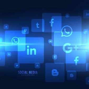 Estilo techno ícones de mídia social fundo