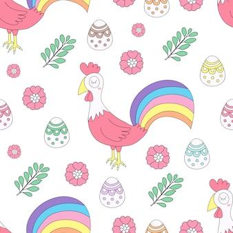 Estilo tirado da mão dos desenhos animados da galinha do teste padrão estilo sem emenda bonito.