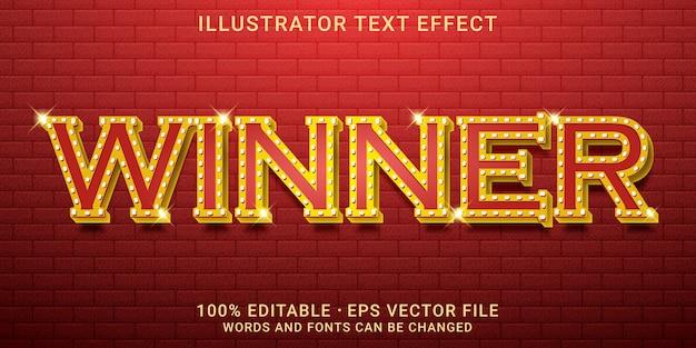 Estilo vencedor de efeito de texto editável
