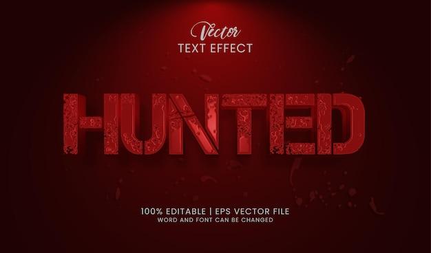 Estilo vermelho de efeito de texto caçado editável