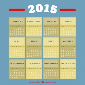 Estilo vintage 2015 calendário