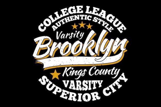 Estilo vintage da liga universitária do brooklyn