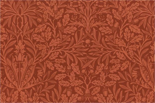 Estilo vintage de fundo com padrão botânico vermelho