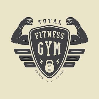 Estilo vintage de logotipo, etiqueta e ou distintivo de ginásio. ilustração vetorial