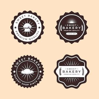 Estilo vintage de logotipos de padaria de coleção