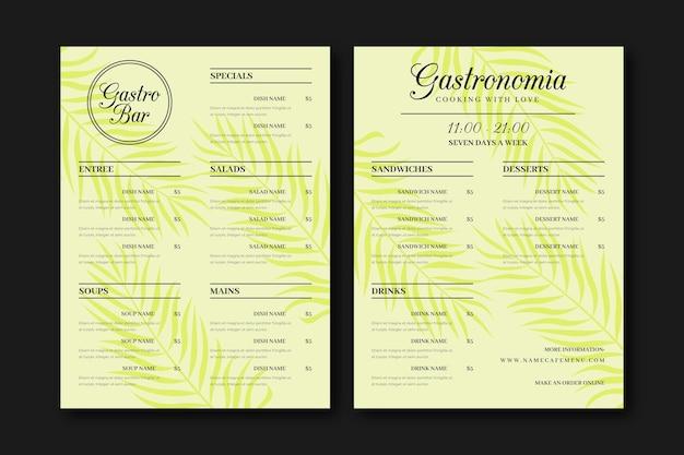 Estilo vintage de menu de restaurante