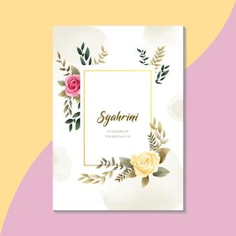 Estilo vintage de modelo de cartão de convite floral aquarela