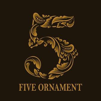 Estilo vintage de ornamento de cinco números
