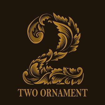 Estilo vintage de ornamento de dois números