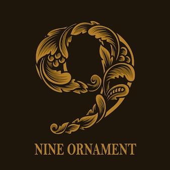 Estilo vintage de ornamento de nove números