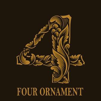 Estilo vintage de ornamento de quatro números
