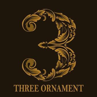 Estilo vintage de ornamento de três números