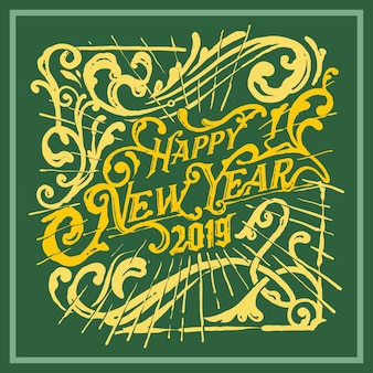 Estilo vintage de saudação de ano novo vitoriano tipografia