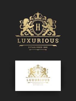 Estilo vintage do modelo de logotipo de luxo.