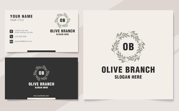 Estilo vintage do monograma do modelo do logotipo do ramo de oliveira