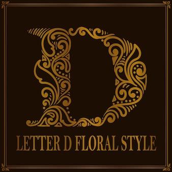 Estilo vintage letra d padrão floral