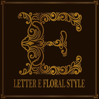 Estilo vintage letra e padrão floral