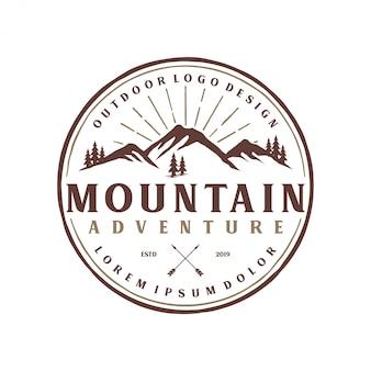Estilo vintage monograma logotipo de montanha