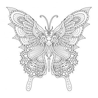 Estilo zentangle borboleta, página para colorir
