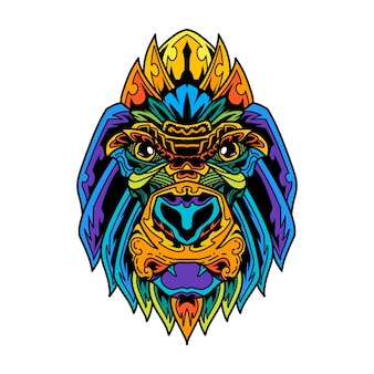Estilo zentangle de cabeça de gorila colorida Vetor Premium