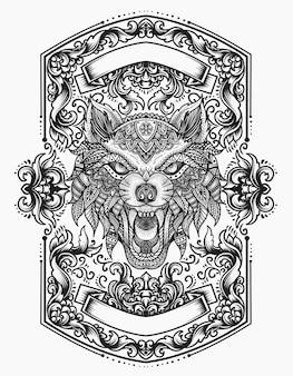Estilo zentangle mandala de cabeça de lobo com chama de ornamento vintage