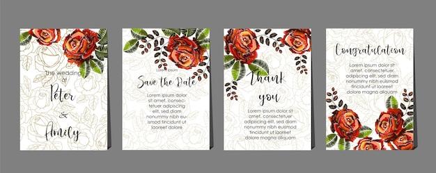 Estilos de bordado de rosas no conjunto de cartões